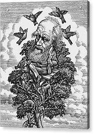 Charles Darwin In His Evolutionary Tree Acrylic Print by Bill Sanderson