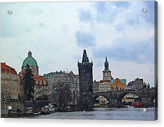 Charles Street Bridge And Old Town Prague Acrylic Print by Paul Pobiak