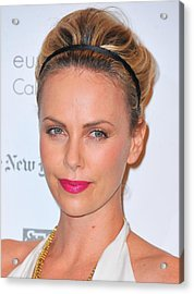 Charlize Theron Wearing A Jennifer Behr Acrylic Print by Everett