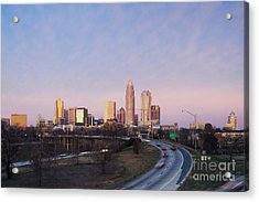 Charlotte Skyline At Sunrise Acrylic Print by Jeremy Woodhouse