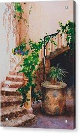 Charming California Courtyard Acrylic Print by Eve Riser Roberts