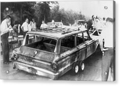 Charred Remains Of Station Wagon Driven Acrylic Print by Everett