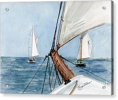 Acrylic Print featuring the painting Chasing The North Wind by Nancy Patterson