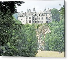 Acrylic Print featuring the drawing Chateau De Walzin Belgium by Joseph Hendrix