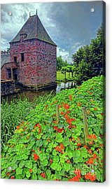Acrylic Print featuring the photograph Chateau Tower And Nasturtiums by Dave Mills