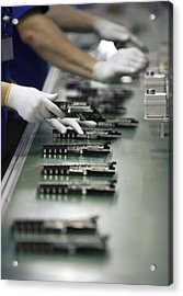 Checking Tv Circuit Board Components Acrylic Print by Ria Novosti