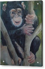 Acrylic Print featuring the painting Cheeky Monkey by Jessmyne Stephenson