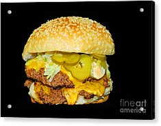 Acrylic Print featuring the photograph Cheeseburger by Cindy Manero