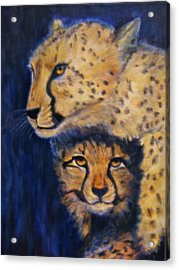 Cheetah Mother And Child Acrylic Print by Maureen Pisano