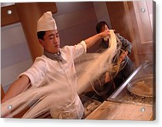 Chef Stretches Dough As He Makes Fresh Acrylic Print by Richard Nowitz