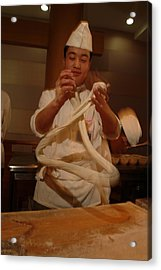 Chef Twirls Dough As He Makes Fresh Acrylic Print by Richard Nowitz