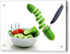 Chefs Making Salad Acrylic Print by Paul Ge