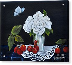 Acrylic Print featuring the painting Cherries And Roses by Carol Sweetwood