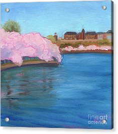 Cherry Blossoms And The Auditor's Building Acrylic Print by Julie Hart
