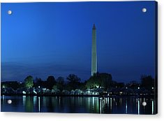 Cherry Blossoms Sunset At The Washington Monument Acrylic Print by Metro DC Photography