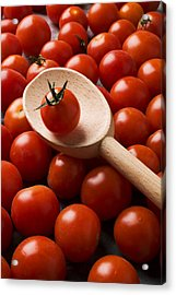 Cherry Tomatoes And Wooden Spoon Acrylic Print by Garry Gay