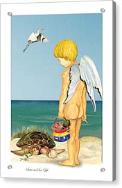 Acrylic Print featuring the painting Cherub Saving Turtle by Anne Beverley-Stamps