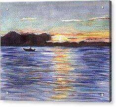 Acrylic Print featuring the painting Chesapeake Dusk Boat Ride by Clara Sue Beym