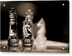 Chess King And Knight Acrylic Print by Lori Coleman