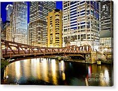 Chicago At Night At Clark Street Bridge Acrylic Print by Paul Velgos