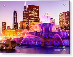 Chicago At Night With Buckingham Fountain Acrylic Print by Paul Velgos