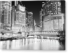 Chicago Cityscape At Night At Dusable Bridge Acrylic Print by Paul Velgos