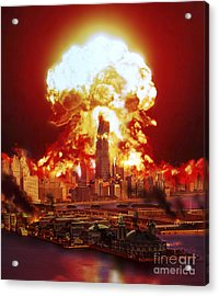 Chicago Disintegrates As A Nuclear Acrylic Print by Ron Miller