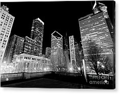 Chicago Downtown At Night  Acrylic Print by Paul Velgos
