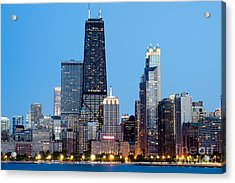 Chicago Downtown At Night With John Hancock Building Acrylic Print