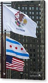 Chicago Flags Acrylic Print by Ann Horn