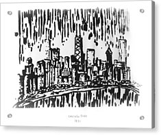 Acrylic Print featuring the painting Chicago Great Fire Of 1871 Serigraph Of Skyline Buildings Sears Tower Lake Michigan Hancock Bw by M Zimmerman