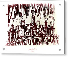 Acrylic Print featuring the painting Chicago Great Fire Of 1871 Serigraph Of Skyline Buildings Sears Tower Lake Michigan John Hancock  by M Zimmerman