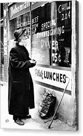 Chicago Homeless Man On Thanksgiving Acrylic Print by Everett