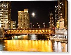 Chicago Michigan Avenue Dusable Bridge At Night Acrylic Print by Paul Velgos