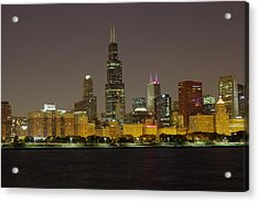 Acrylic Print featuring the photograph Chicago Night Skyline by Peter Ciro