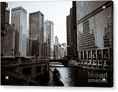 Chicago River Downtown Buildings In Black And White Acrylic Print by Paul Velgos