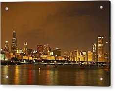 Chicago Skyline At Night Acrylic Print by Axiom Photographic