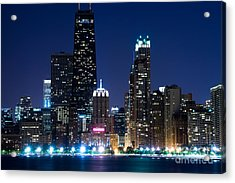 Chicago Skyline At Night With John Hancock Building Acrylic Print by Paul Velgos