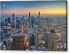 Chicago Skyline In Blue Hour Acrylic Print by Delobbo.com