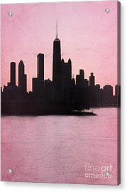 Chicago Skyline In Pink Acrylic Print by Sophie Vigneault