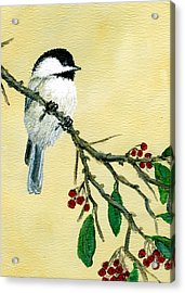 Chickadee Set 4 - Bird 1 - Red Berries Acrylic Print
