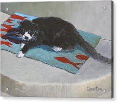 Chicken Dreaming Of Fish Acrylic Print by Lori Quarton