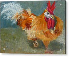 Acrylic Print featuring the painting Chicken On The Run by Jessmyne Stephenson