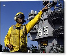 Chief Aviation Boatswains Mate Directs Acrylic Print by Stocktrek Images