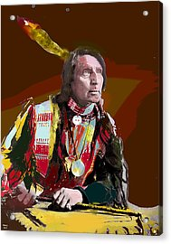 Acrylic Print featuring the mixed media Chief Red Shirt by Charles Shoup