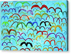 Child Drawing Of Colorful Birds In Blue Sky Acrylic Print by Donald Iain Smith