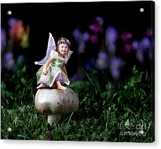 Child Fairy On Mushroom Acrylic Print by Cindy Singleton