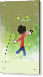 Acrylic Print featuring the digital art Child In Nature by Asok Mukhopadhyay