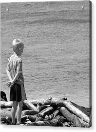 Child In Thought Acrylic Print by Elizabeth  Doran