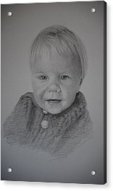 Acrylic Print featuring the drawing Child Portrait by Lynn Hughes